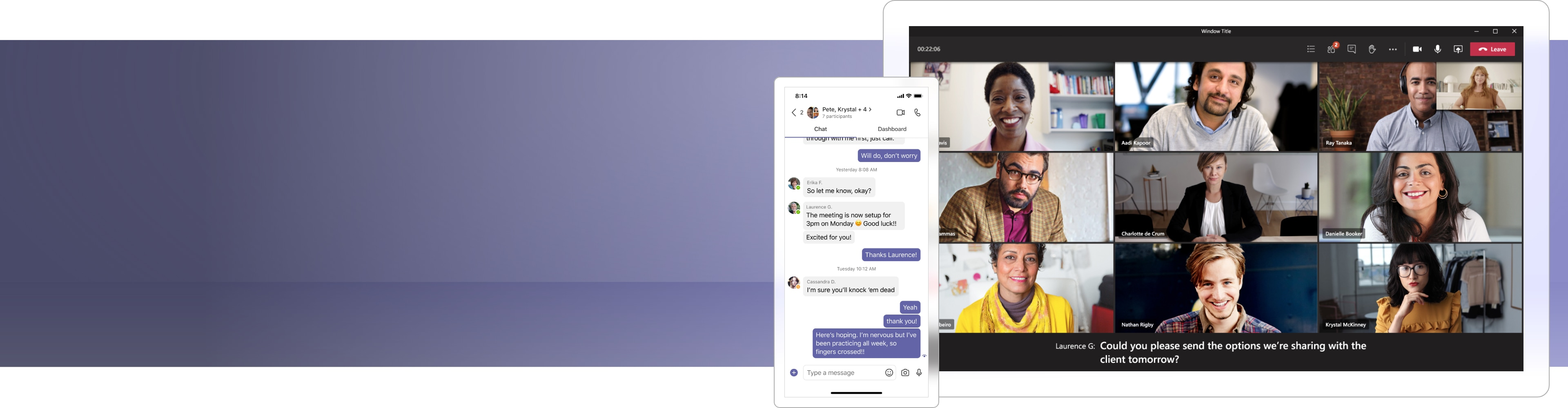 A Teams video call with 9 participants and a pop-out mobile window on the left showing a text conversation in Teams.