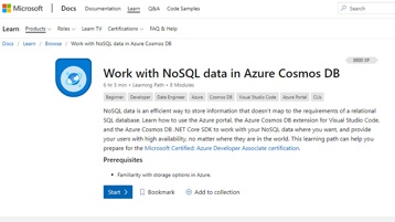 The Work with No S Q L data in Azure Cosmos DB webpage.