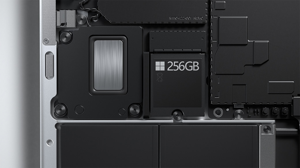 A close-up view of the removable hard drive on Surface Laptop 4