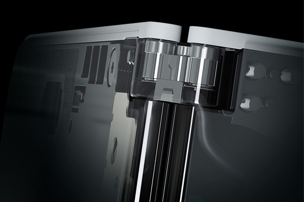 Close-up view of Surface Duo hinge
