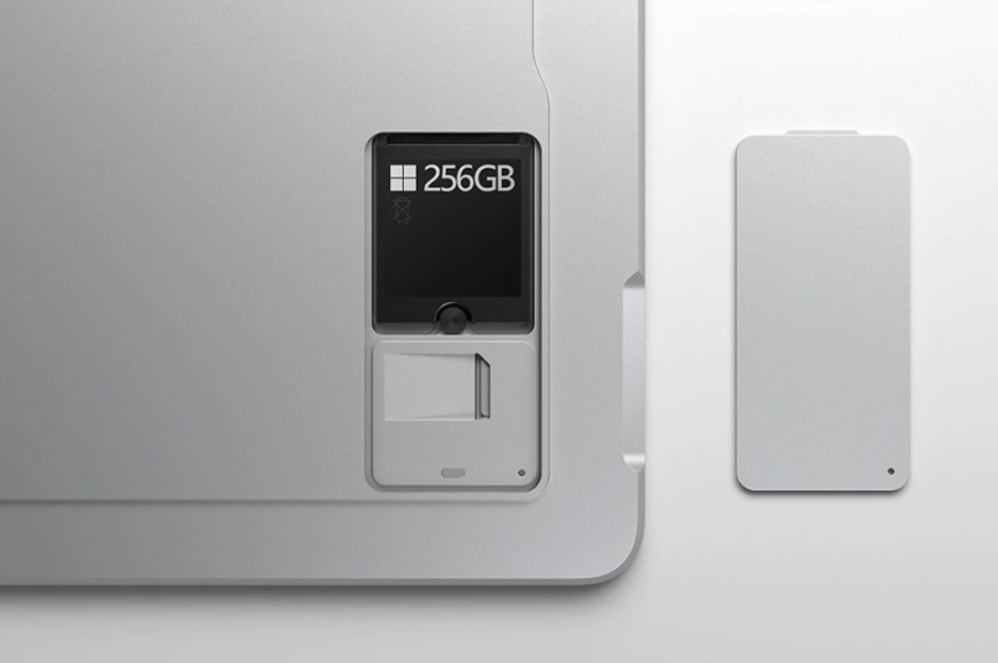A close-up view of the removable hard drive on a Surface for Business device