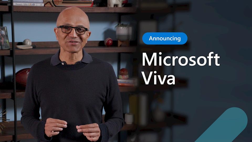 Satya Nadella, CEO of Microsoft, announcing Microsoft Viva.