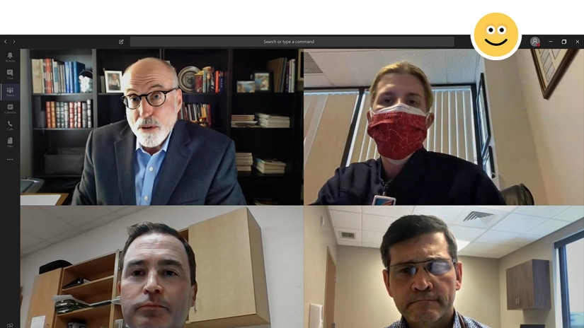 Four medical professionals on a Teams video call.