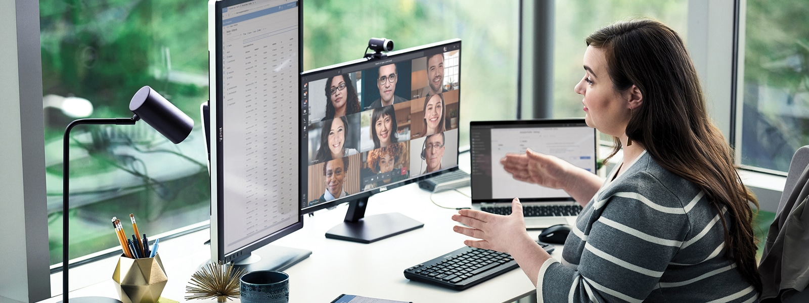 A person on a Teams video call with four other participants.