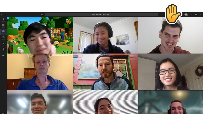 Nine people participating in a Teams video call.