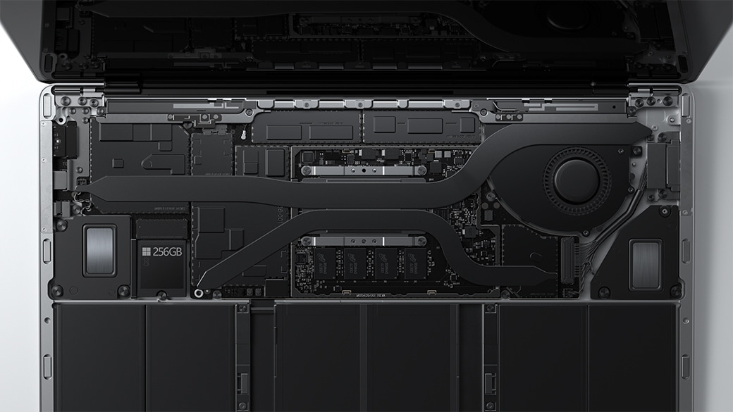 A close-up view of the thermal cooling mechanism inside a Surface Laptop 4 device