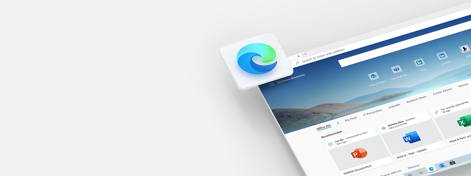 Uma captura de ecrã angular de uma janela do browser Microsoft Edge a apresentar uma barra de pesquisa, ligações e documentos, com o ícone a pairar num canto