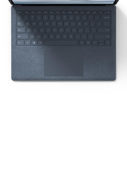 冰晶蓝 Alcantara 饰面的 Surface Laptop 4 特写