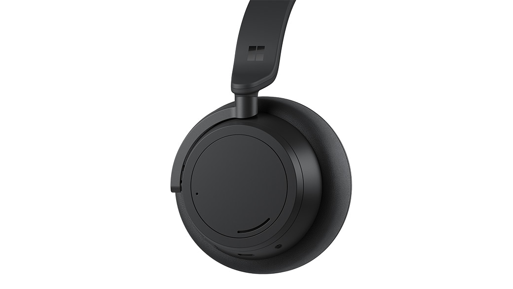 Side profile view of Surface Headphones 2+ in Matte Black
