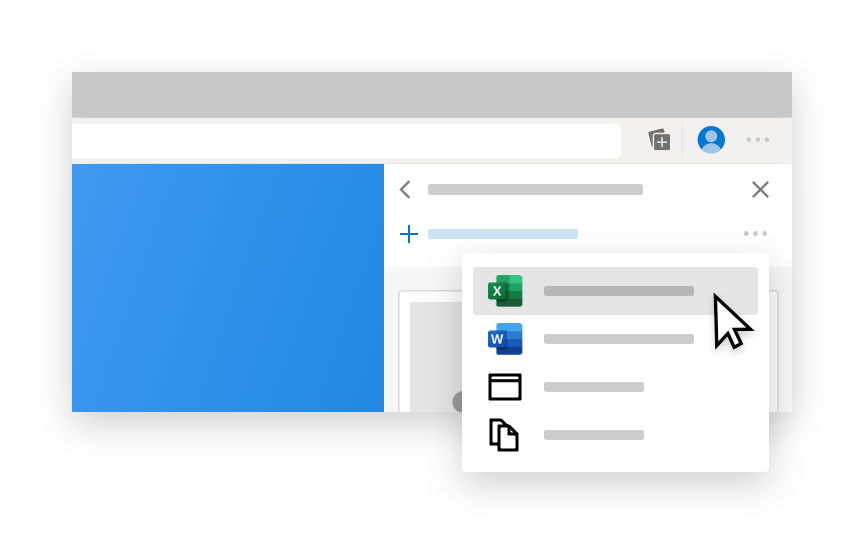 Illustration of Microsoft Edge Collections window