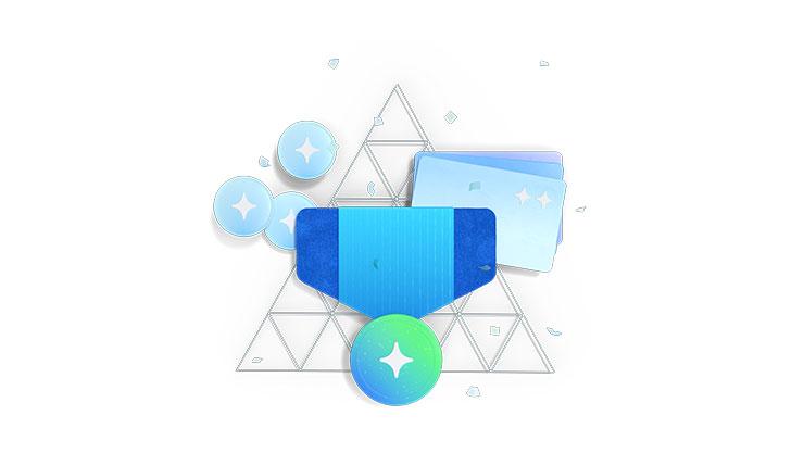 Illustration of Microsoft Edge rewards icons.
