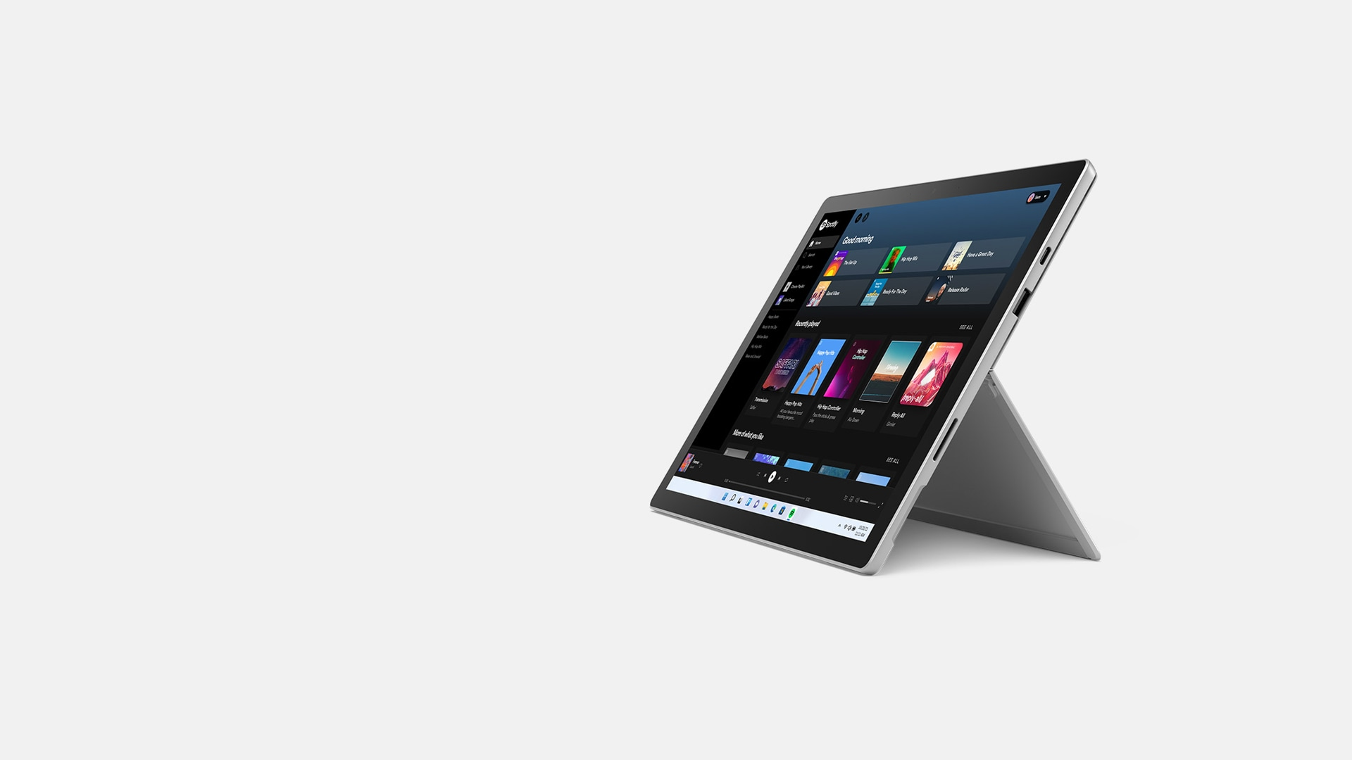 Surface Pro 7+ in kickstand mode.
