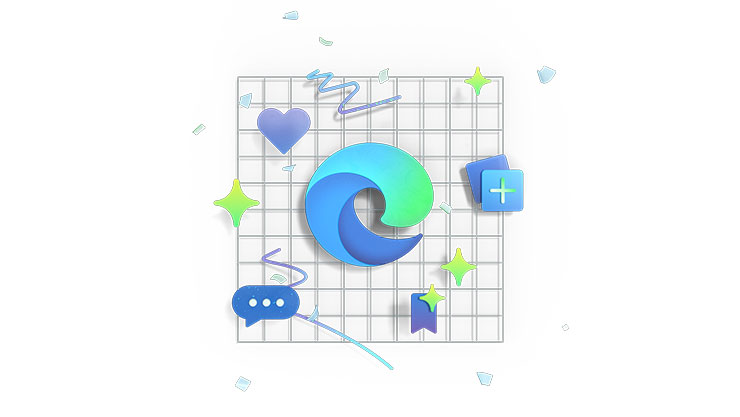Illustration of Microsoft Edge productivity icons.