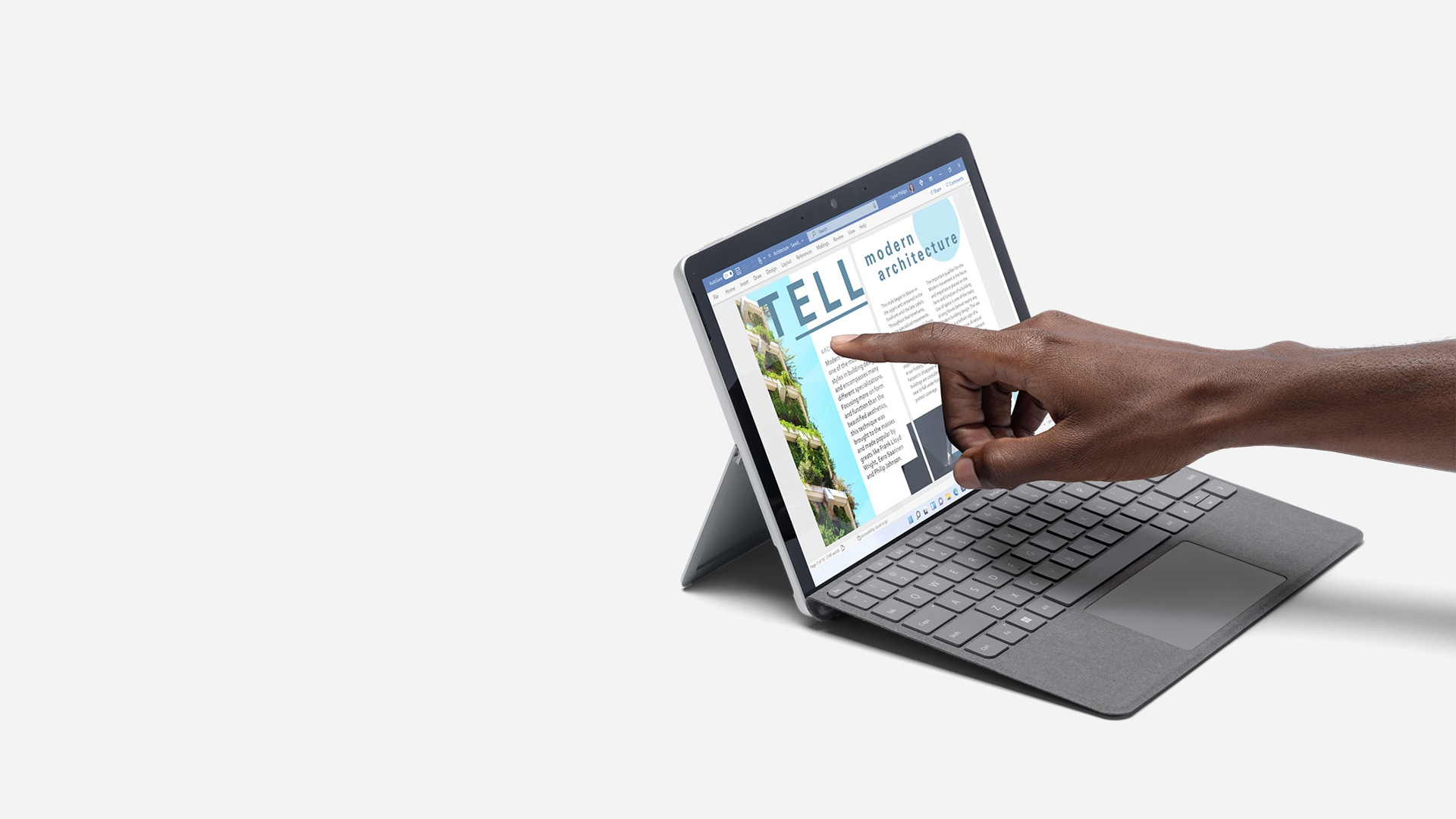 Surface Go 3 being used as a laptop.