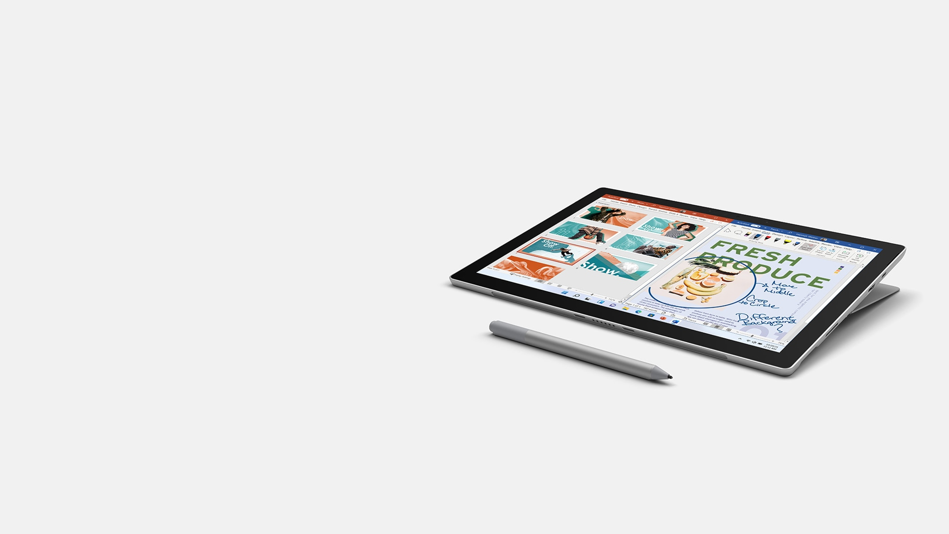 Surface Pro 7+ shown with Surface Pen.