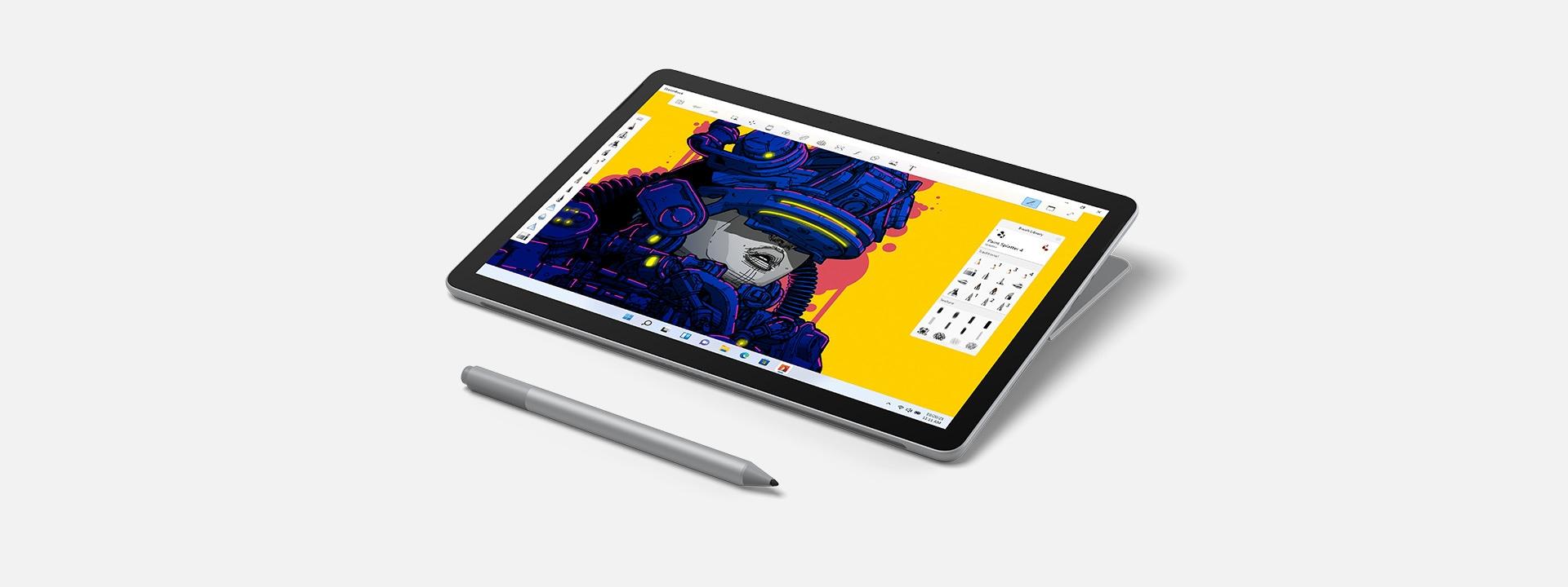 Image d'une SurfaceGo3 sous forme de tablette avec un stylet Surface.