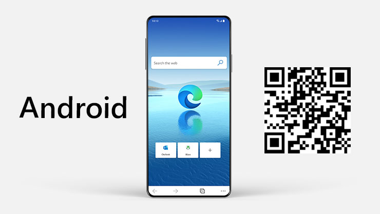 An Android phone with a Microsoft Edge screen and a QR code