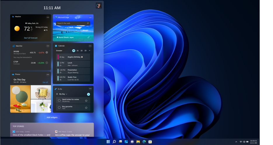 Personalized widgets including weather, Bing and more in Windows 11.