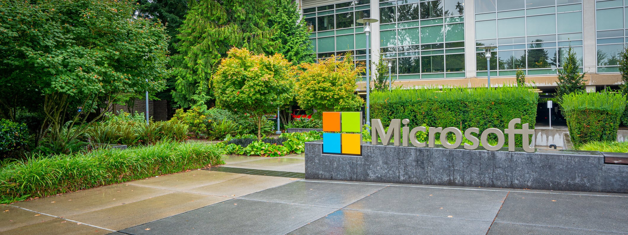 Outside view of Microsoft campus.