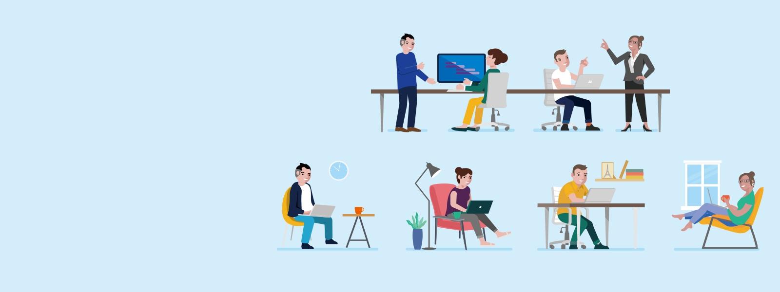 オフィスワークをする人々とリモートワークをする人々のイラスト