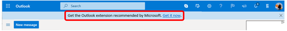 Outlook extension banner in Outlook on the web