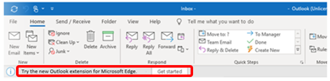 Outlook extension banner in Windows
