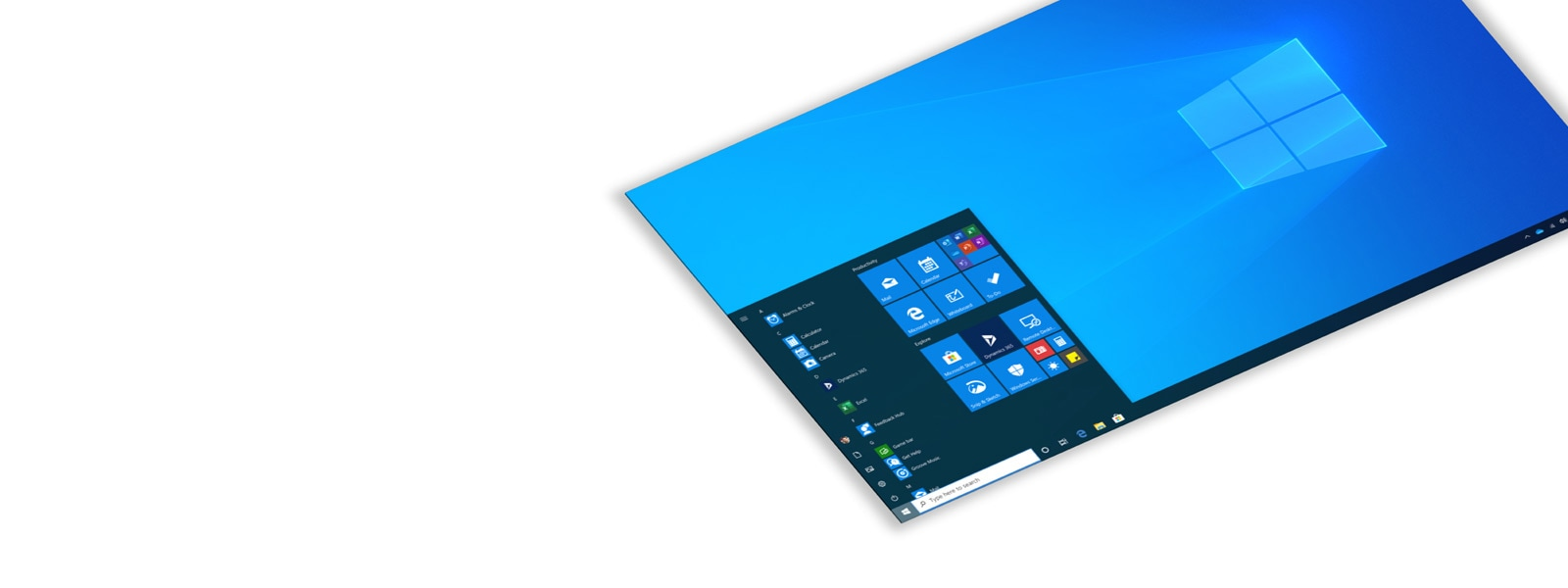 Angled screen shot of Windows 10 Pro background and start menu.