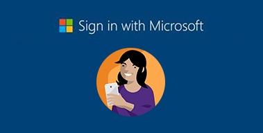 An illustration of a smiling person signing in with their mobile device along with a Microsoft logo and an invitation to sign in with Microsoft