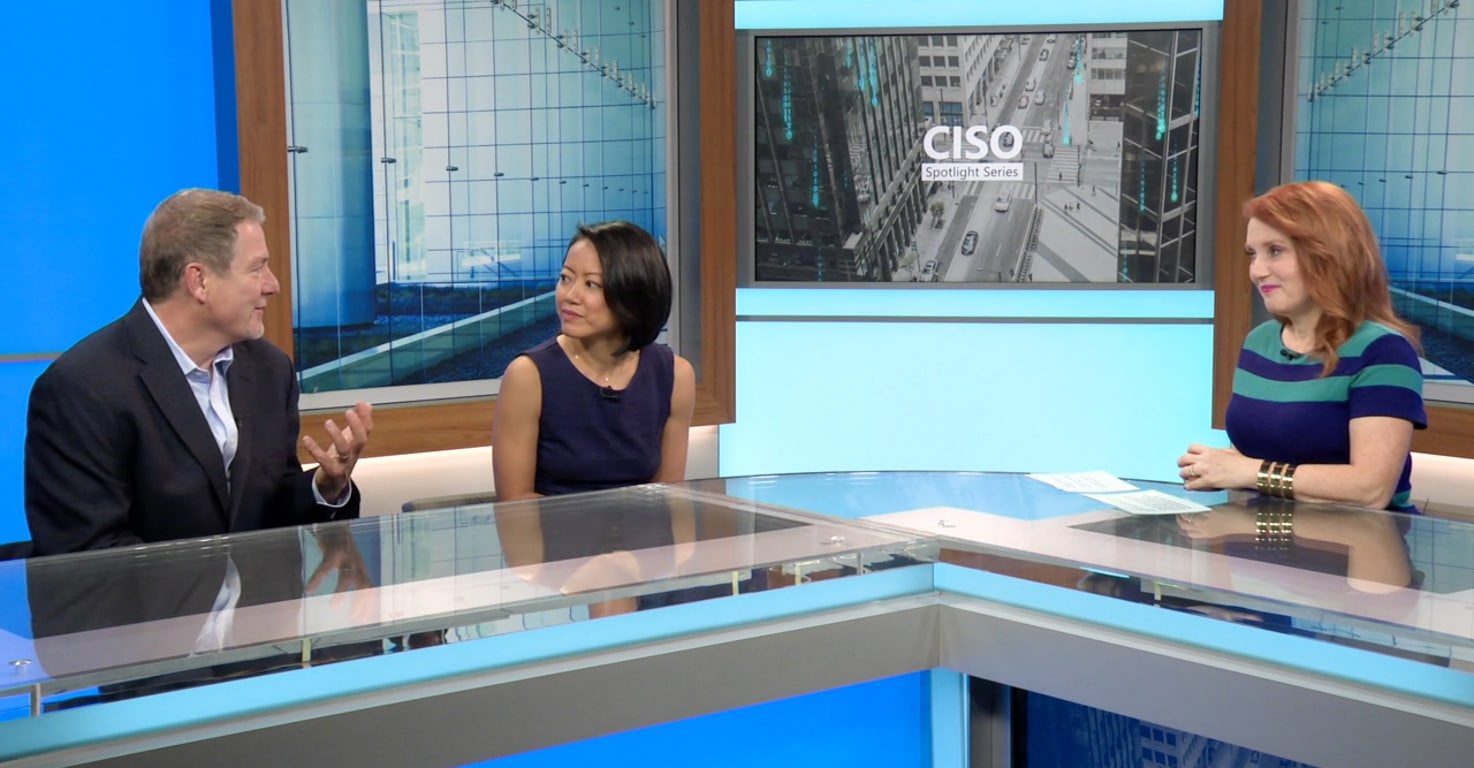 Still image from video showing Bret Arsenault, Microsoft CISO, and Joy Chik, CVP of Identity in conversation with Theresa Payton, host of CISO Spotlight