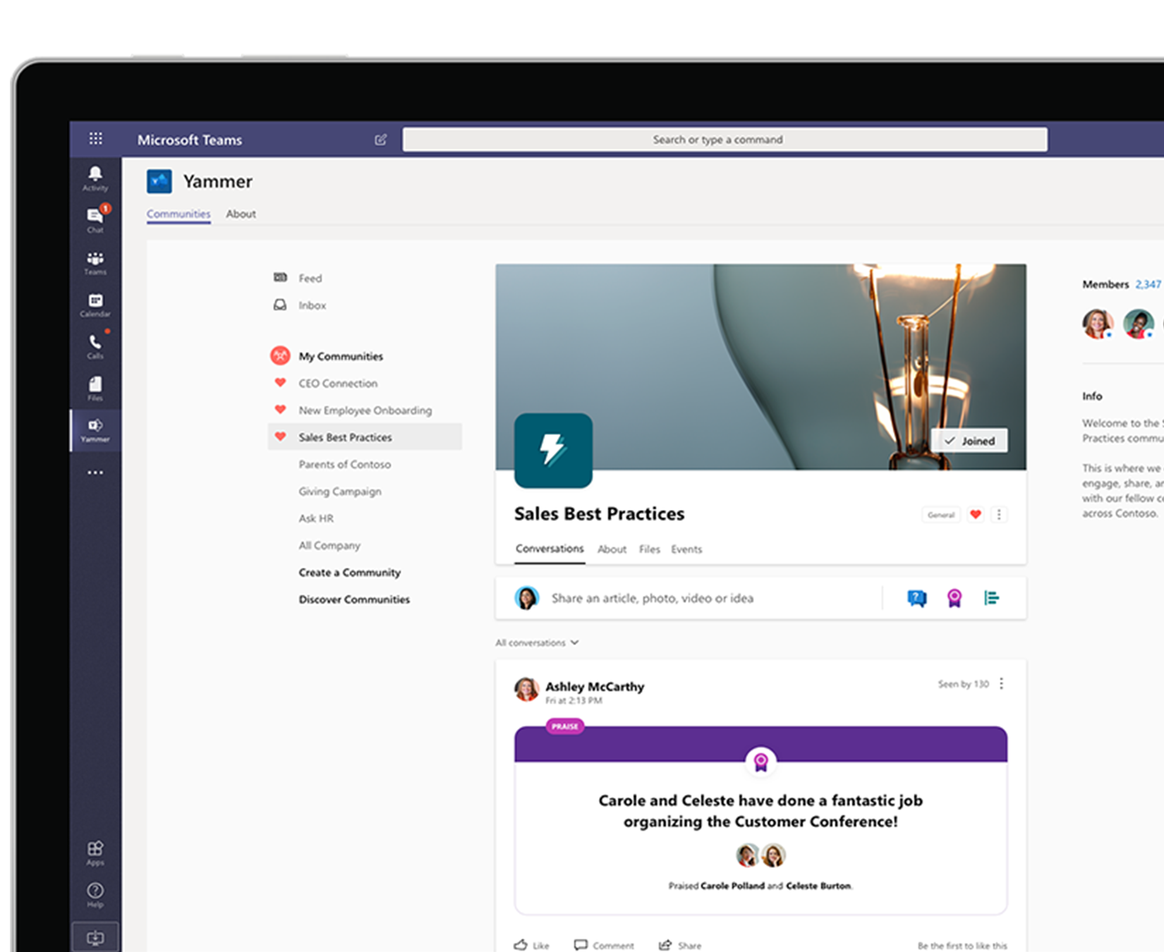A laptop or tablet showing Yammer conversations in SharePoint