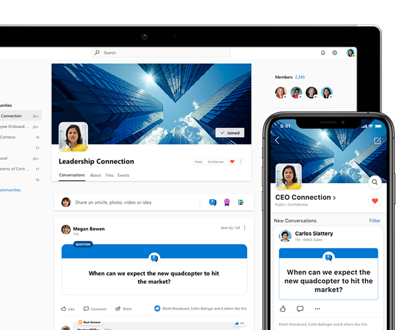 Yammer on a phone and tablet showing a community conversation