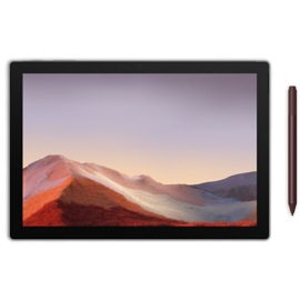 A Surface Pro 7 and Burgundy Surface Pen