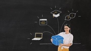 Das Bild zeigt auf schwarzem Hintergrund eine Frau, die ein Paket hält, aus dem verschiedene IT-Lösungen entspringen.