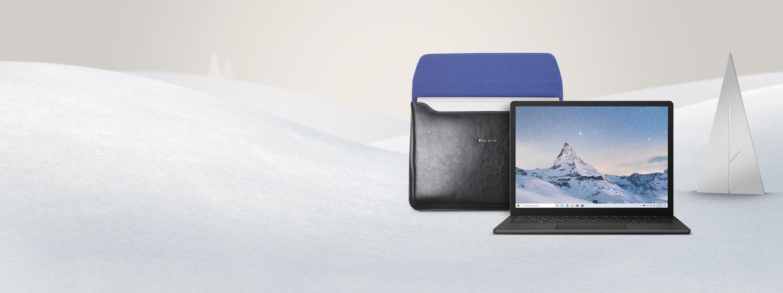Surface Laptop 3 (Black) and Maroo Black Leather Sleeve