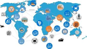 Eine Weltkarte mit verschiedenen Industrie-Icons, die über Linien miteinander verbunden sind.