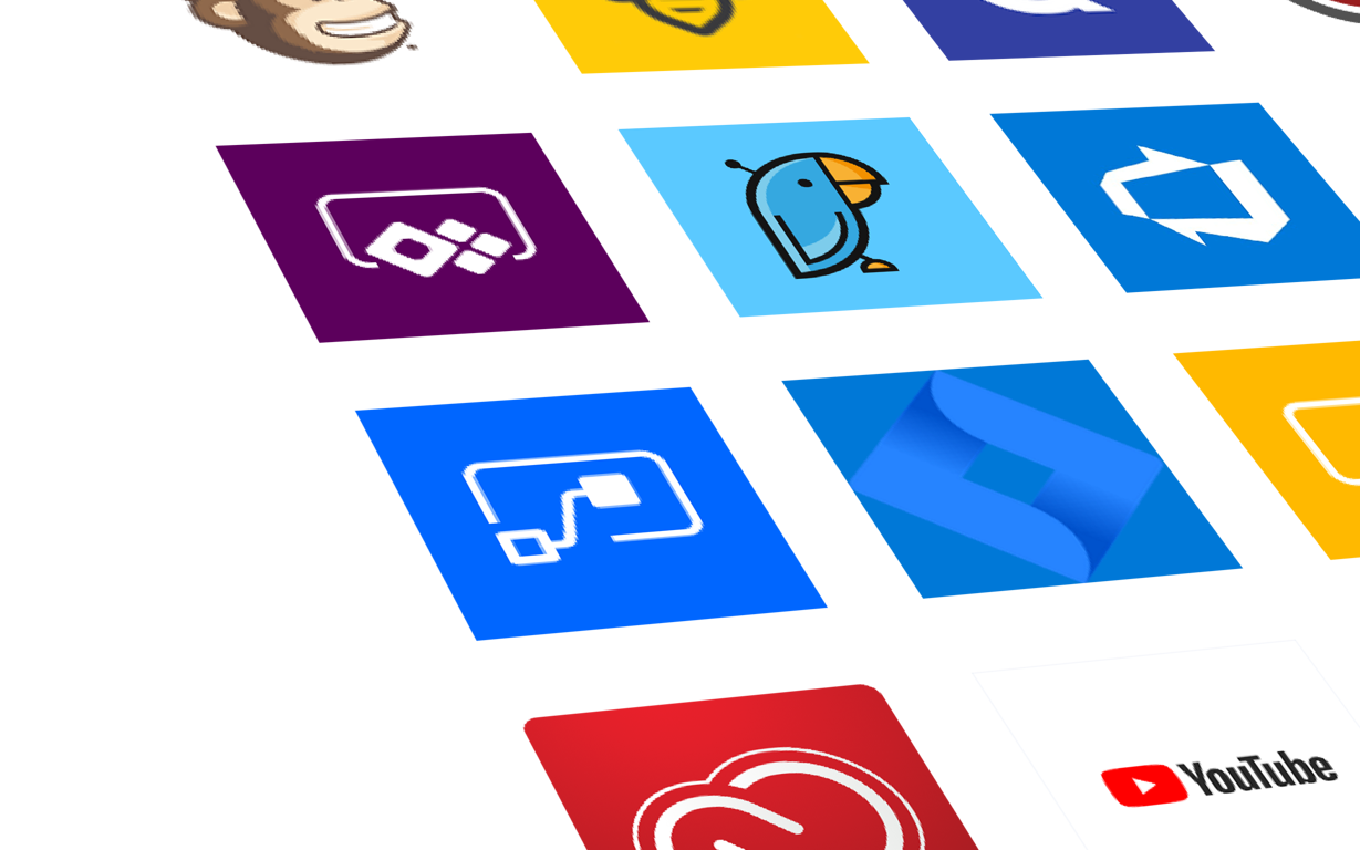Close-up photograph of a variety of app icons displayed in a grid