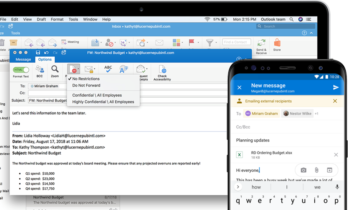 Security features available in the desktop and mobile versions of Outlook
