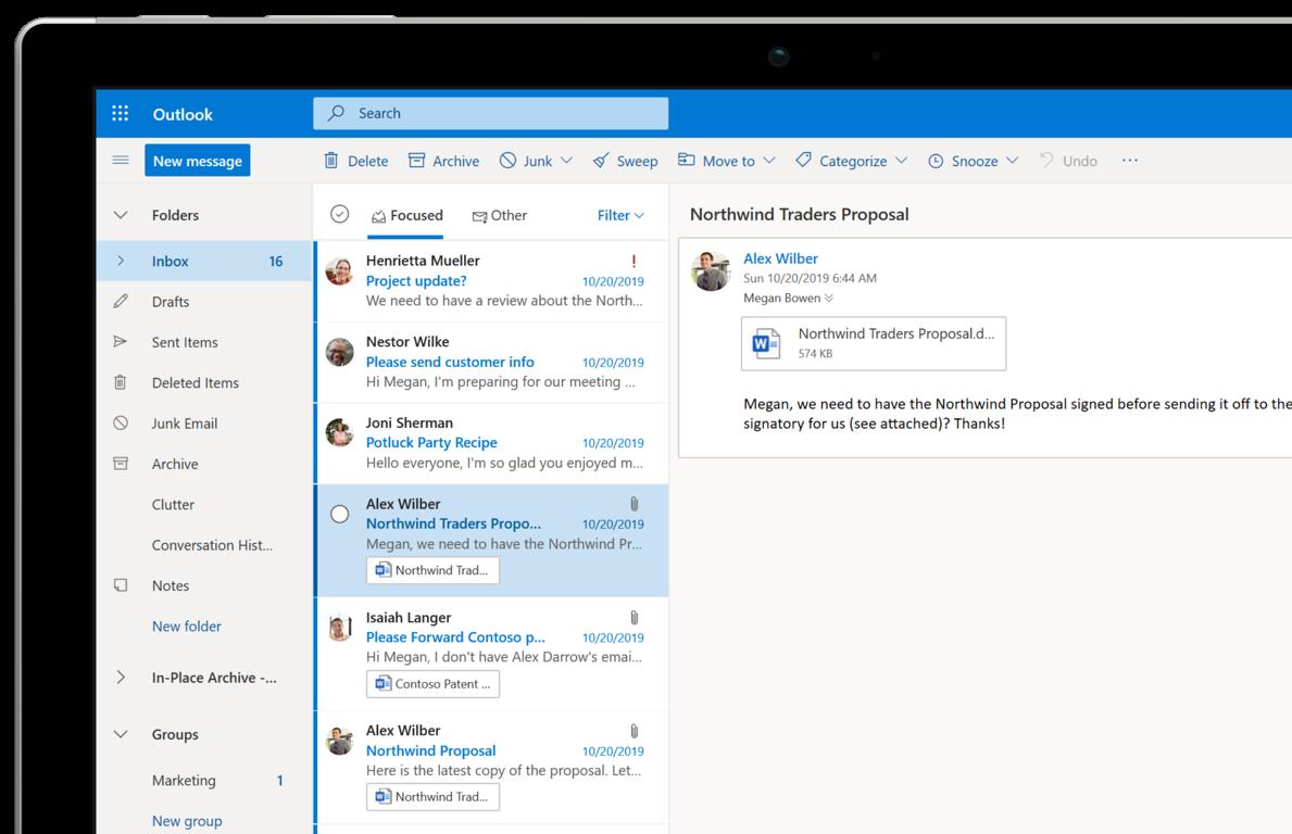 Device screen displaying Outlook Exchange inbox