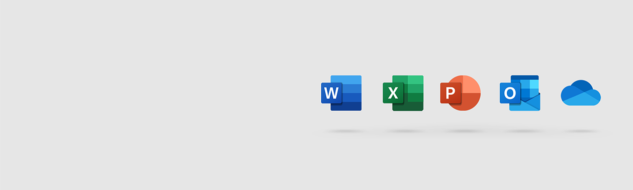 Microsoft Office application icons on a light background