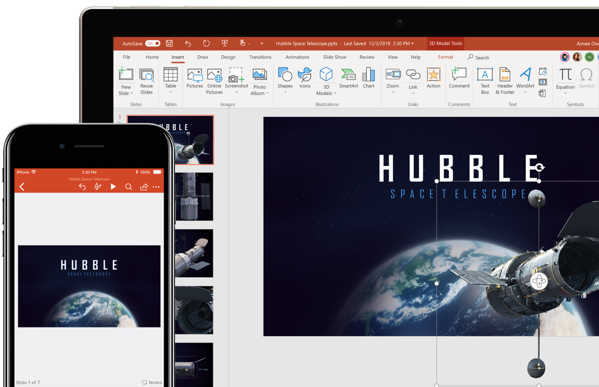 A phone screen and a tablet screen showing a file open in PowerPoint