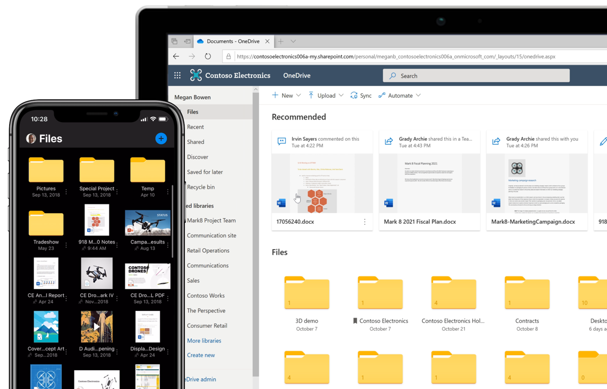 A tablet and phone show files in microsoft OneDrive 365