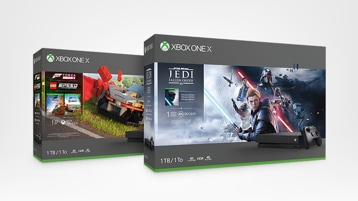 Xbox One X Star Wars Jedi: Fallen Order and Forza Horizon 4 Lego Speed consoles
