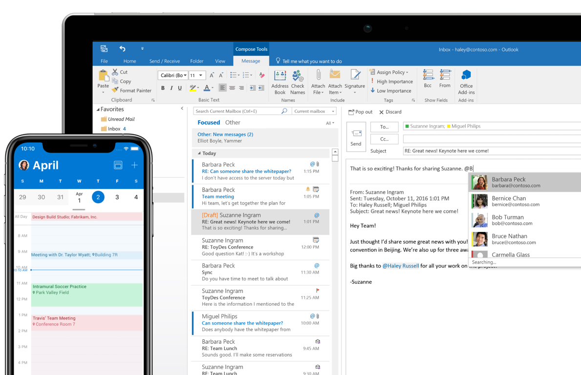 A phone screen showing the calendar in Outlook and a tablet screen showing the inbox in Outlook