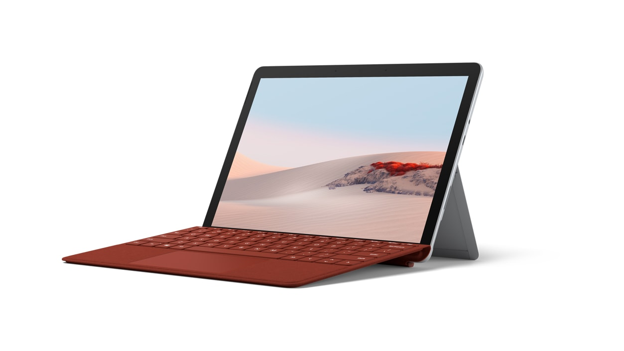 Surface Go 2 for Business with Poppy Red Alcantara type cover