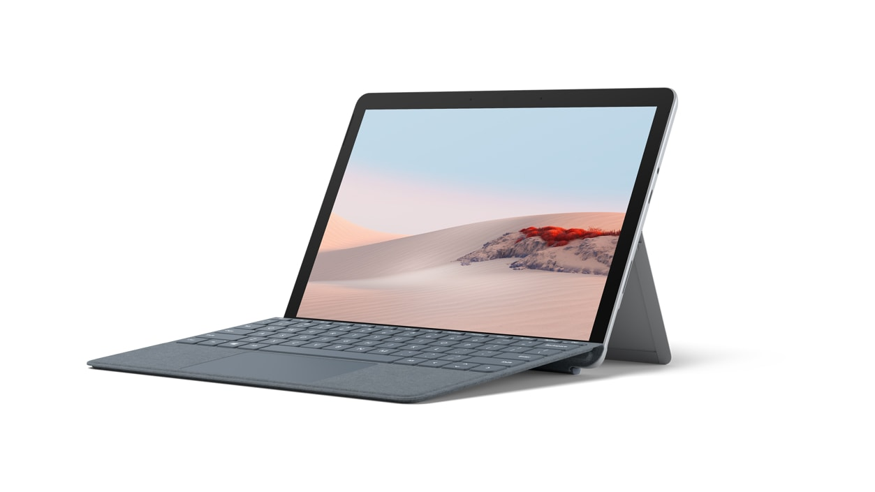 Surface Go 2 for Business with Ice Blue Alcantara type cover