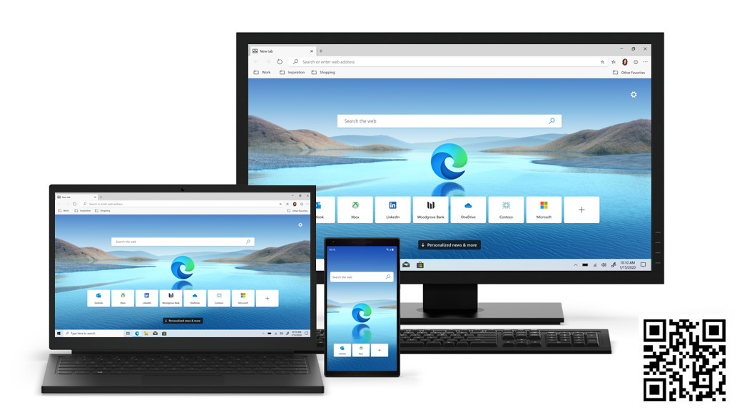 Desktop, laptop, mobile phone devices with Edge home screen with QR code.