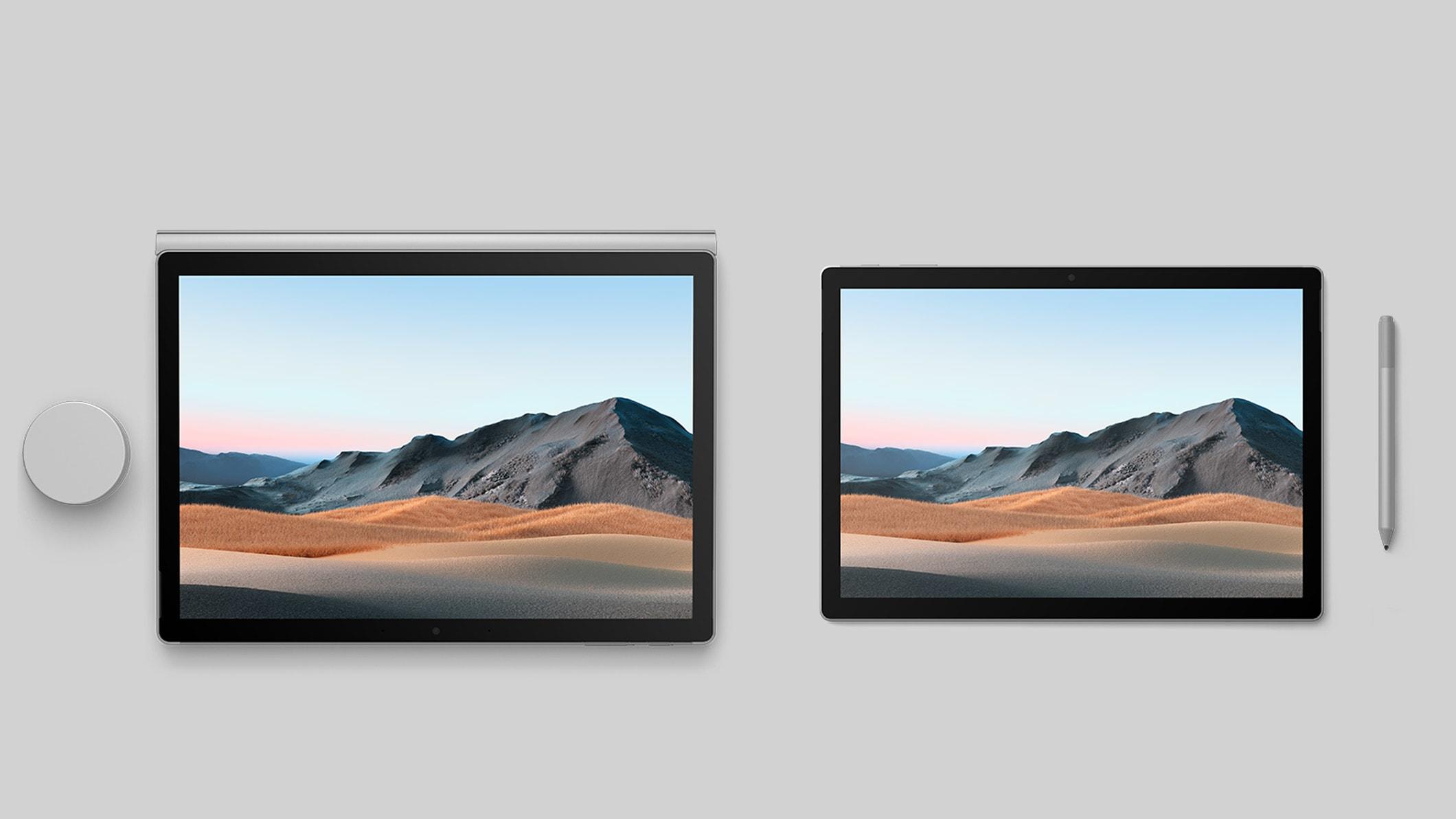 13,5-Zoll und 15-Zoll Surface Book3 im Studio-Modus mit einem Surface Dial und einem Surface Pen