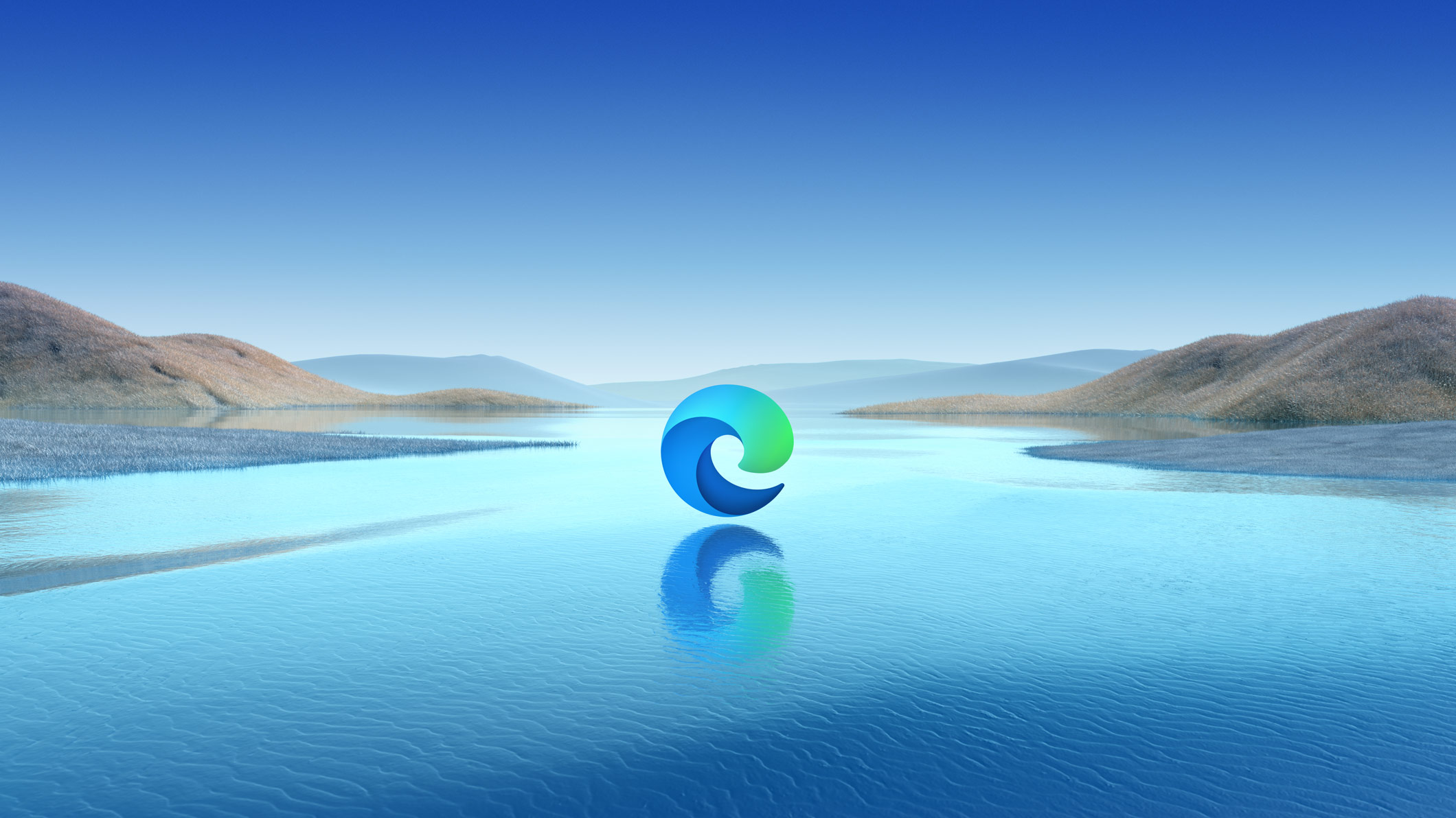 Microsoft Edge icon with landscape background