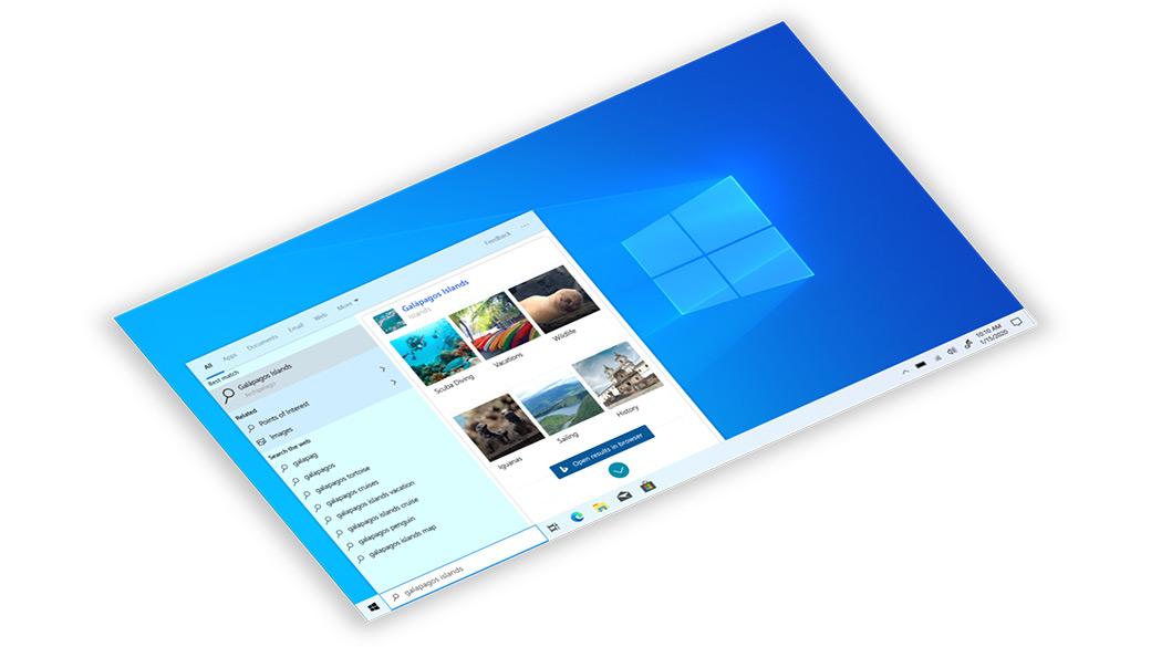 Windows 10-Taskleiste mit Bing-Suche