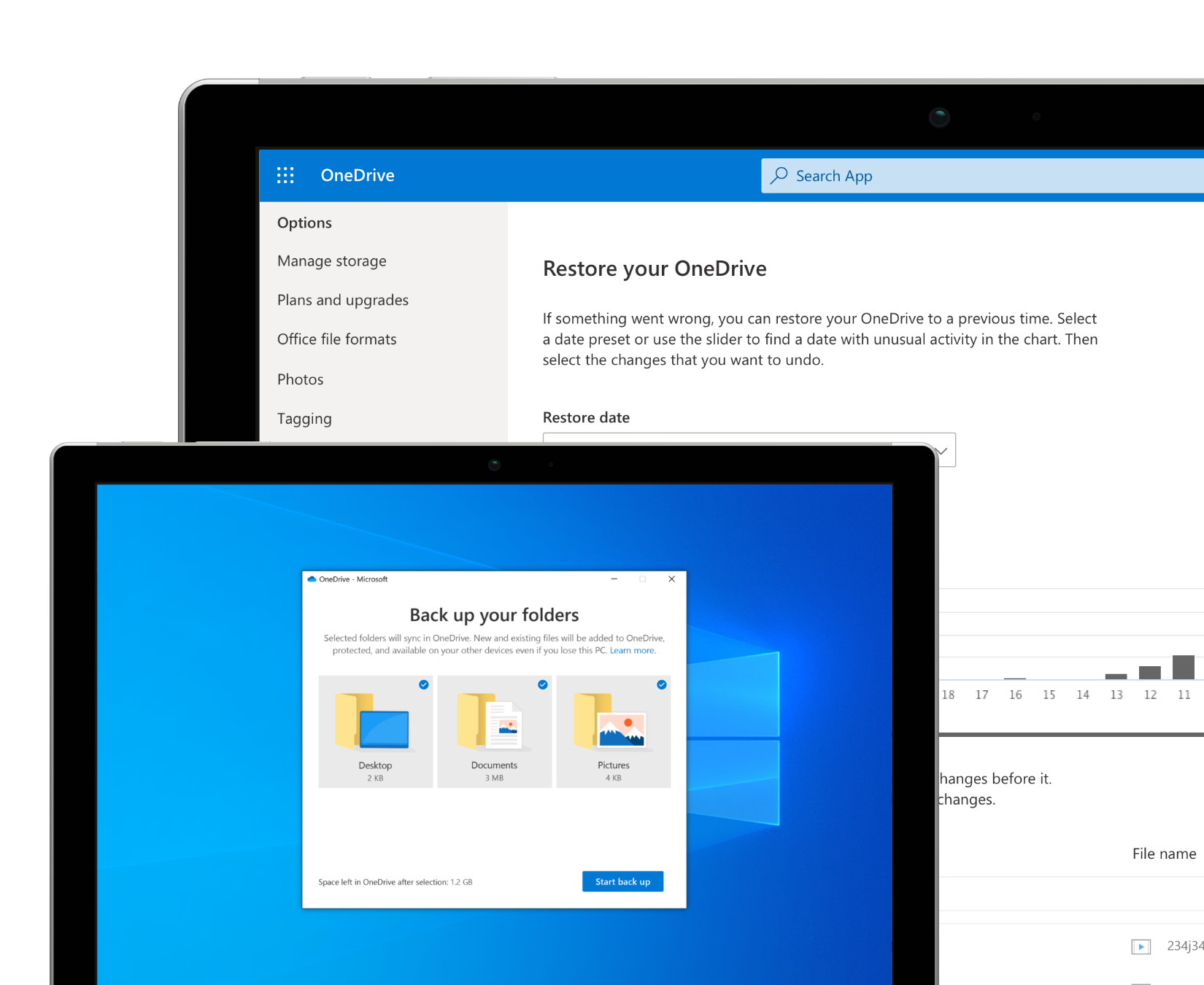 Two device screens showing backup and restore features in OneDrive.